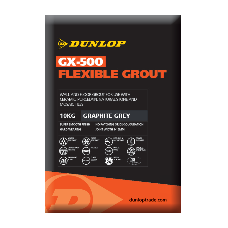 Dunlop GX-500 Graphite Grey Flexible Grout 10kg BAL25956