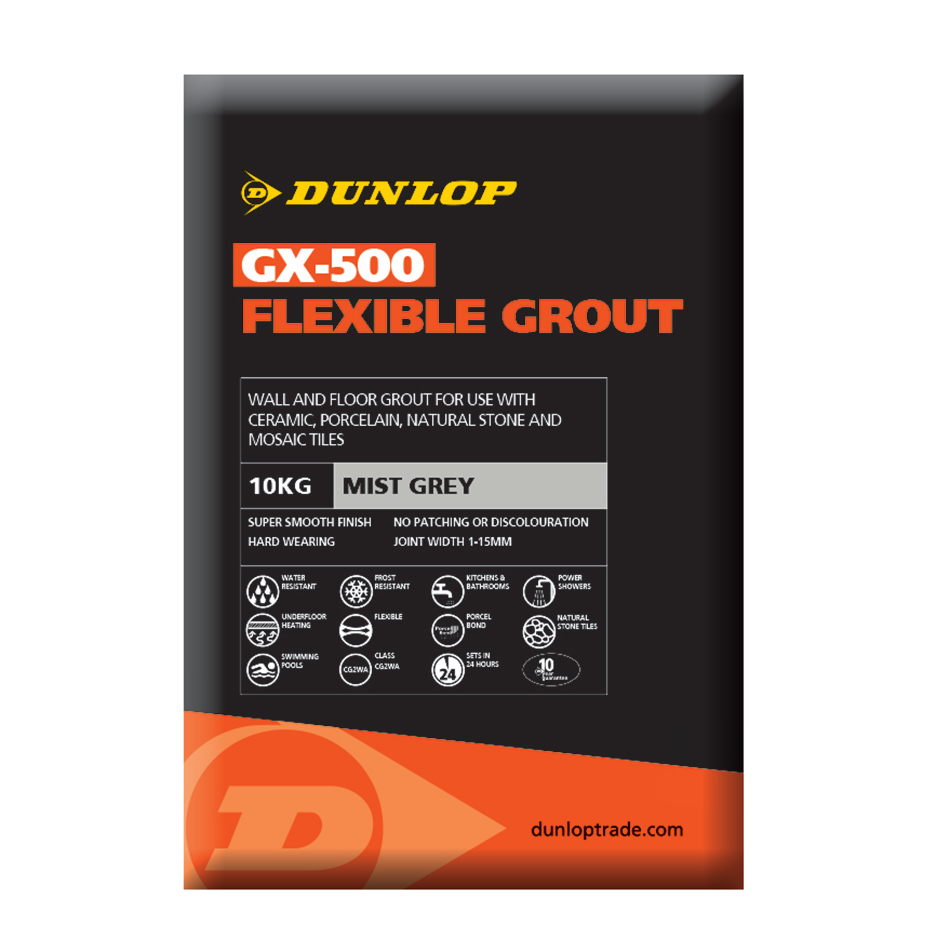 Dunlop GX-500 Mist Grey Flexible Grout 10kg BAL25955