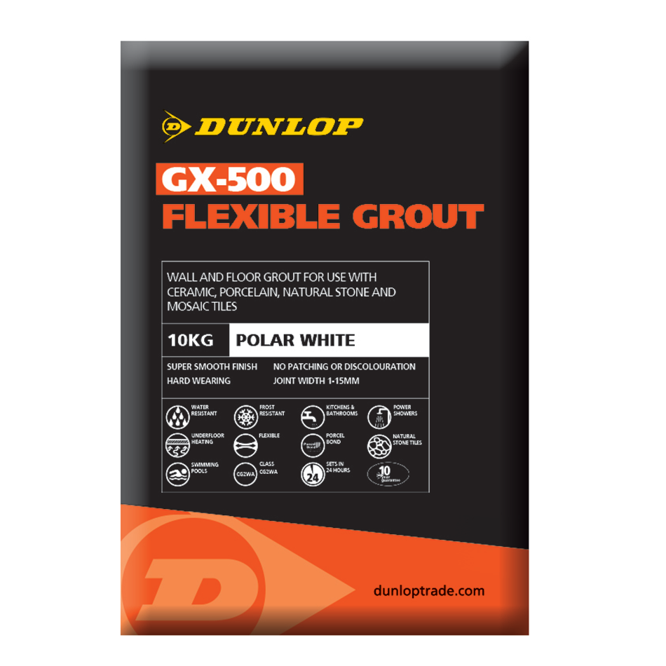 Dunlop GX-500 Polar White Flexible Grout 2.5kg BAL25944